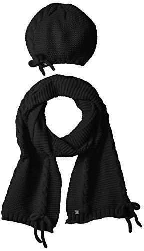 LAUNDRY BY SHELLI SEGAL Women's Lace Up Scarf & Hat Set Accessory, -black, one size