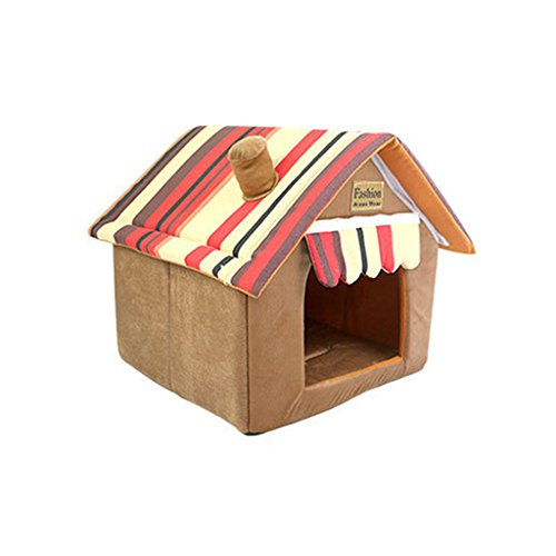 Pet Cat Dog House Bed Dog Houses for Medium and Small Pets Brown XL by Blingdeals (Image #1)