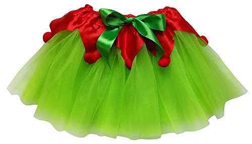So Sydney Adult, Plus, Kids Christmas Party, Play, Elf or Santa's Helper Green Tutu Skirt (M (Kid Size), Lime & Red) -