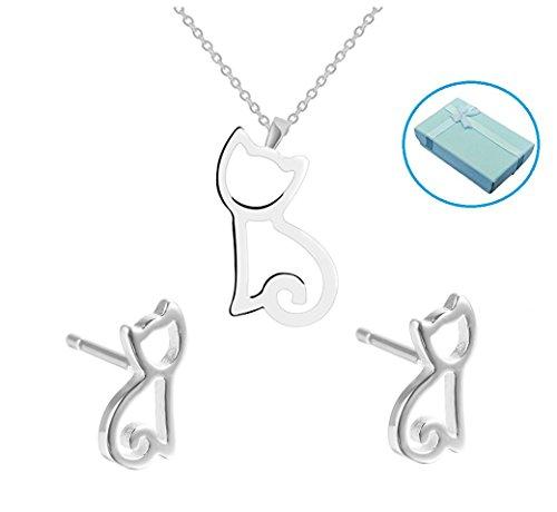 Sterling Silver Pendant Necklace + Kitten Dangle Earrings,Gift Box Packaging (Kitty Charm Earrings)
