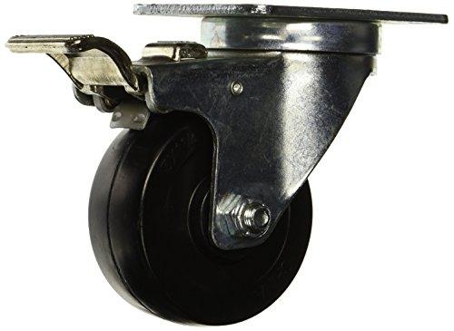 "RWM Casters 27-HRO-0312-S-TLB 27 Series Versatrac 4-1/4"" High, 3"" Hard Rubber Wheel, Swivel Caster, Total Lock Brake from RWM Casters"