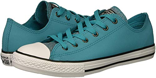 Converse Girls' Chuck Taylor All Star Glitter Leather Low Top Sneaker Rapid Teal/Black/White 12 M US Little -