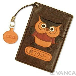 Chouette Cuir Animal Pass/ID/carte de crédit/support/coque * Vanca * fait à la main au Japon VANCA CRAFT