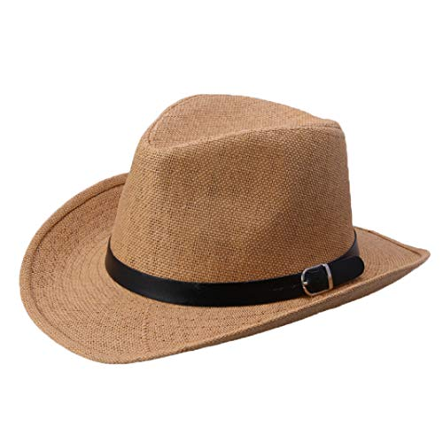 Unisex Straw Western Cowboy Hat Vintage Lightweight Outback Wide Brim Beach Sun Hat Khaki (Classic Outback Khaki)