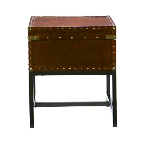 Voyager Storage Side End Table - Rustic Industrial Style - Expresso Finish ()
