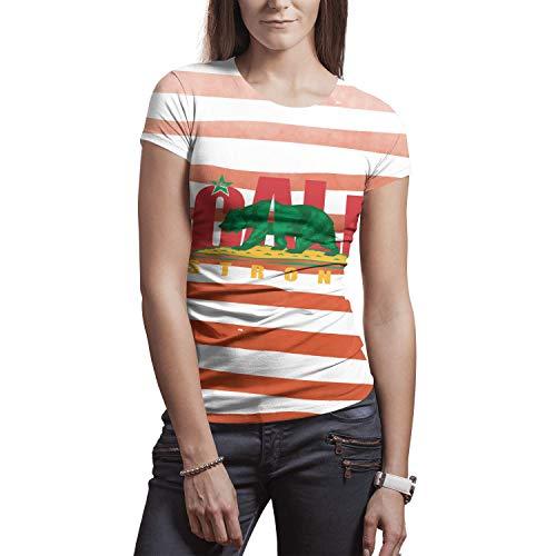 Women'scalifornia cali Strong Bear Logo Tees 3D Creative Graphic Print Cool Design Summer Short Sleeve T-Shirts for Women]()