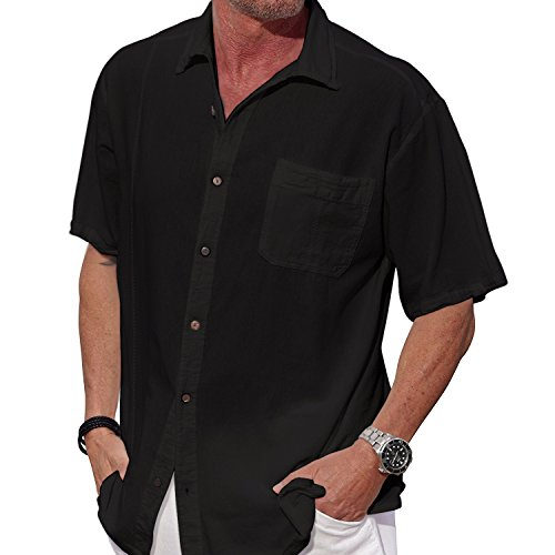 M&B USA Cotton White Short-Sleeve Casual Lightweight Beautiful Embroidered Button Down Shirt (X-Large, Black) Black Cotton Short Sleeve Shirts