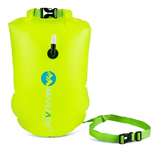 20l Water - 20L Waterproof Dry Bag, Ultralight Swim Buoy and Safety Float for Open Water Triathletes, Kayak, Snorkeling,Surfers, Beach, Swimming, Boating with Adjustable Waist Belt (Fluo Green)