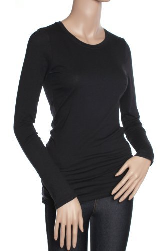 Active Products Womens Basic Athletic Fitted Plain Long Sleeves Round Crew Neck T Shirt Small Black (Essential Womens Crewneck T-shirt)