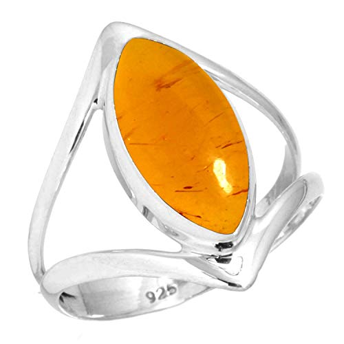 925 Sterling Silver Ring Amber Handmade Jewelry Size 13
