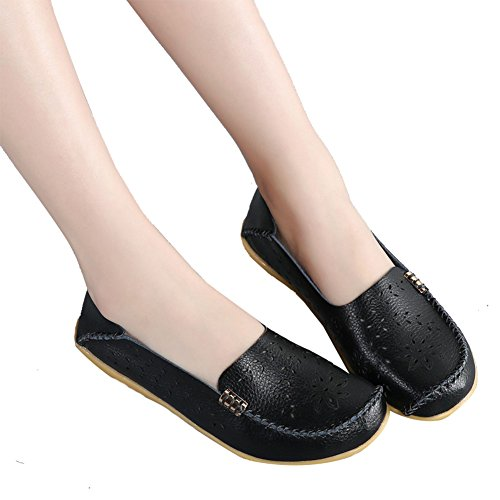 Casual Soft Slip Flat Ninecifun Floral black On Womens Loafers Leather Moccasins x5q50YnUr