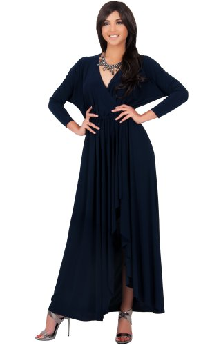 KOH KOH Womens Long Sleeve Wrap Slit Formal Fall Winter Cocktail Gown Sexy Classic Designer Special Occasion Bridesmaid Evening Maxi Dress, Color Navy Blue, Size 2X Large 2XL 18-20 (2)