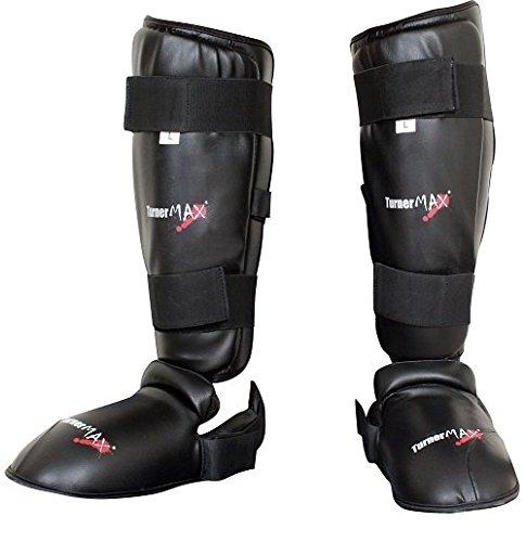 TurnerMAX–Shin empeine pad pierna y pie PVC protector artes marciales Kick Boxing entrenamiento equipo de protección con extraíble zapatos negro