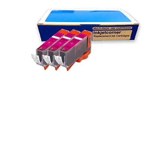 Inkjetcorner 3 Pack Magenta Compatible Ink Cartridge for Canon CLI-8M Canon Pixma iP3300 iP3500 iP4200 iP4300 iP4500 iP5200 iP5200R iP6600D iP6700D MP500 MP530 MP600 MP610 MP800 MP800R MP810 MP830 MX850 MP950 MP510 MX700 MP950 MP960 MP970 Pro9000 Mark II