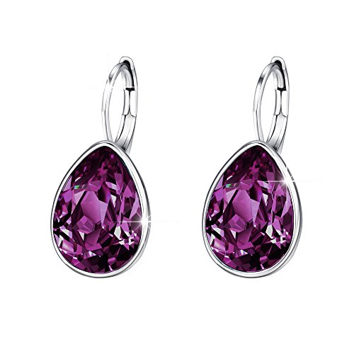 Xuping Halloween Gifts Women Girl Decorate Hoop Earrings Beauty Elegant Water Drop Crystals from Swarovski Luxury Jewelry (Amethyst)
