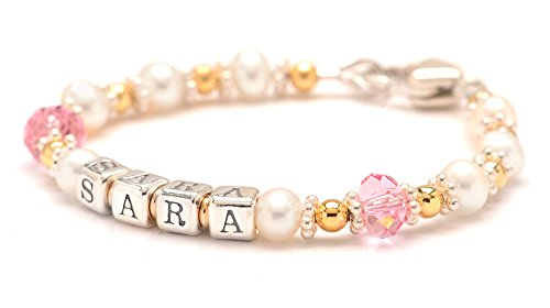 Christening Bracelet Jewelry Gift for Baby Girls - Cultured Freshwater Pearls & Pink Crystal Name Bracelet