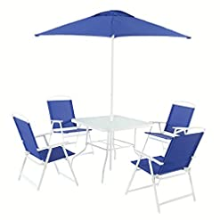 Garden and Outdoor Mainstays Albany Lane 6-Piece Folding Seating Set (Blue) patio dining sets