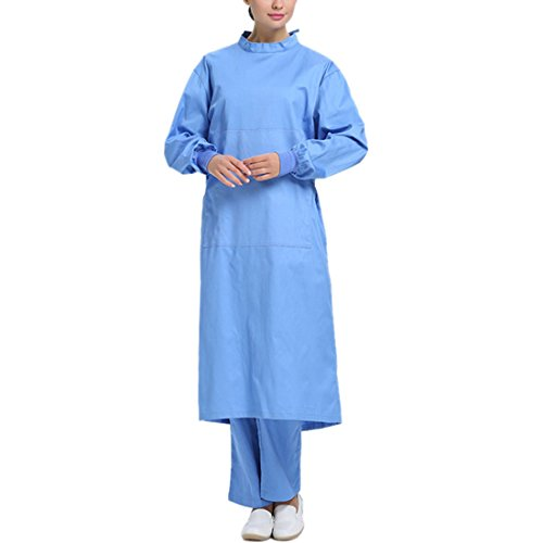 YUENA CARE Surgical Gown Isolation Gown Adult Surgeon Costume Surgical Uniform Blue(women) S -