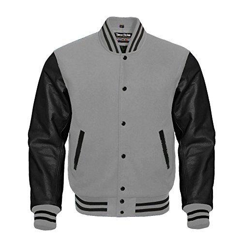 Letterman Baseball Varsity Jacket Gray Wool & Black Genuine Leather Sleeves (S)