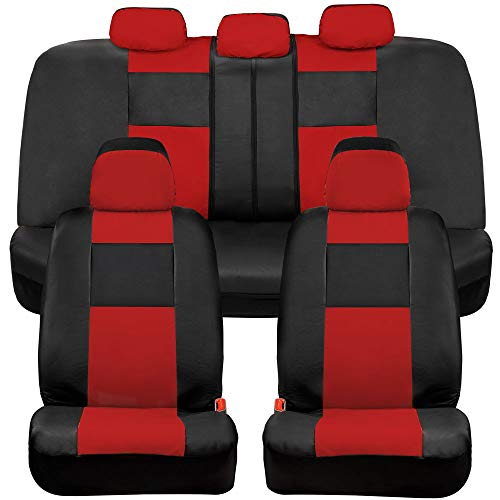 BDK Croc Skin Universal Fit Seat Covers, Full Set – Premium Microfiber Leather, Airbag Compatible, Front and Rear Seat Protectors for Car Truck Van and SUV