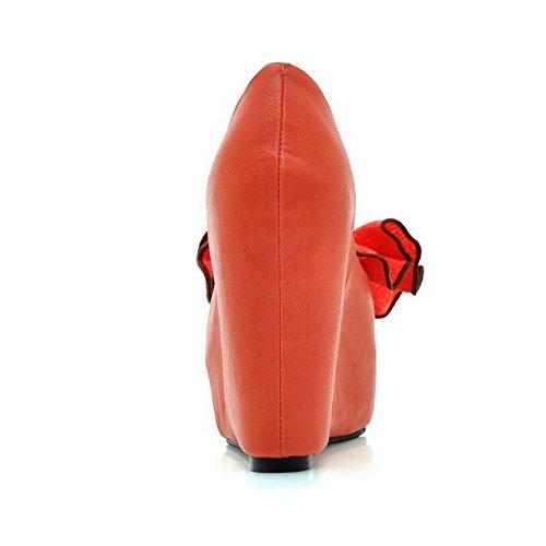 AllhqFashion Mujeres Sólido Sintético Plataforma Peep Sin cordones Sandalia Naranja