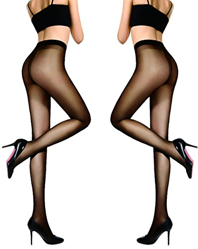 HONENNA Women's 40 Den Silky Sheer Reinforced T Crotch Pantyhose Tights (Medium, Black, 2 Pairs)