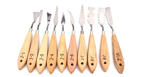 Oil Paint Knives For Artists By Garloy,10 Pcs Stainless Steel Painting Knife Set Within Thin and Flexible Spatulas Art Tools For Oil Painting Acrylic Mixing (Trowel Palette)