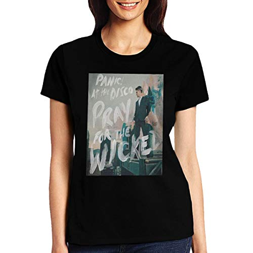 Gilmmer Womens Short Sleeve T-Shirt Panic at The Disco Pray for The Wicked Fashion Printed Casual Tops Black ()