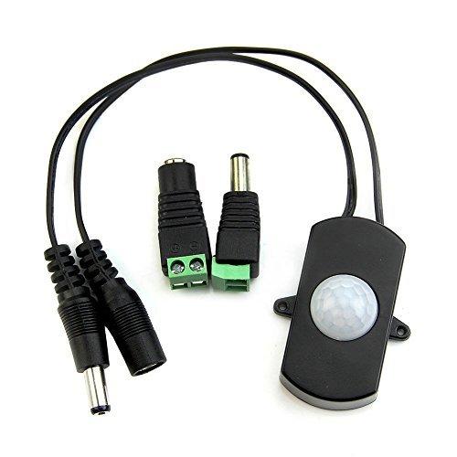 VIPMOON DC 5V-24V Mini 4A PIR Detector de Detector de Movimiento por Infrarrojos para LED Strip + Hembra Macho Conector de Alimentación DC: Amazon.es: ...