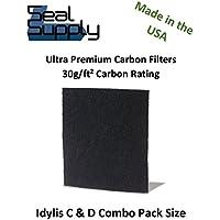 1 Idylis C & 1 Idylis D Premium Precut Carbon Activated Pre Filters Combo Pack IAF-H-100C & IAF-H-100D for Model IAP-10-280