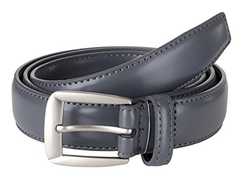 Sportoli Men's Genuine Leather Classic Stitched Casual Uniform Dress Belt - Grey/Matte Buckle (44)