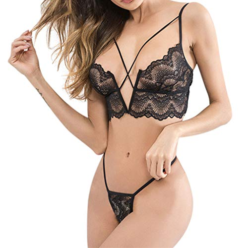 Saks 2PCS Women Underwear Sleepwear Bodysuit Underwear Charm Sexy Criss Cross Lingerie Nightwear Set