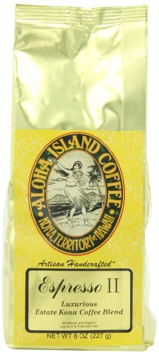 Aloha Island Coffee Company Espresso II, Luxurious Estate Kona Coffee Blend, 8-Ounce Bag