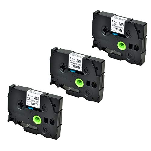SuperInk 3 Pack Compatible for Brother HSe-211 HSe211 HS-211 HS211 Black on White Heat Shrink Tube Label Tape use in PT-D210 PT-D400 PT-E300 PT-E500 PT-P750WVP Printer (0.23''x 4.92ft, 5.8mm x 1.5m)