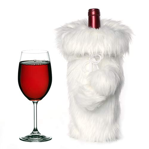 AerWo Faux Fur Wine Bottle Bag, White Christmas Wine Bottle Cover for Winter Holiday party decorations, 13 x 6 inch