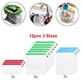 NszzJixo9 12pcs Reusable Mesh Produce Bags Washable Eco Friendly Bags for Storage Fruit Vegetable Toys Tags for Grocery Shopping Storage