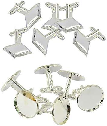 Milageto Set van 12 vierkante manchetknopen en klinknagels voor manchetknopen met ronde knopen