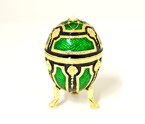 (Ciel Collectables Jeweled Small Egg Trinket Box on Stand. Hand Painted Enamel with Swarovski Crystal & Gold Tone)