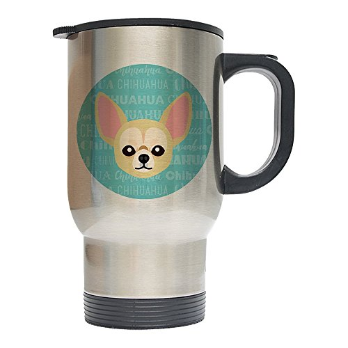 pecific 14oz Stainless Steel Travel Coffee Mug (Chihuahua, Silver) (Chihuahua Travel Mug)