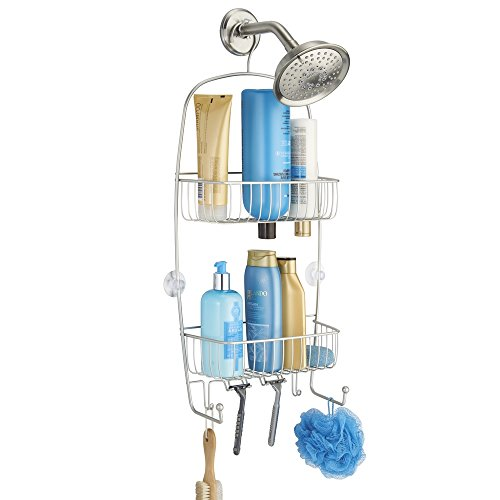 mDesign Bathroom Shower Caddy for Tall Shampoo Bottles, Conditioners, Soap - Extra Long, Satin by mDesign