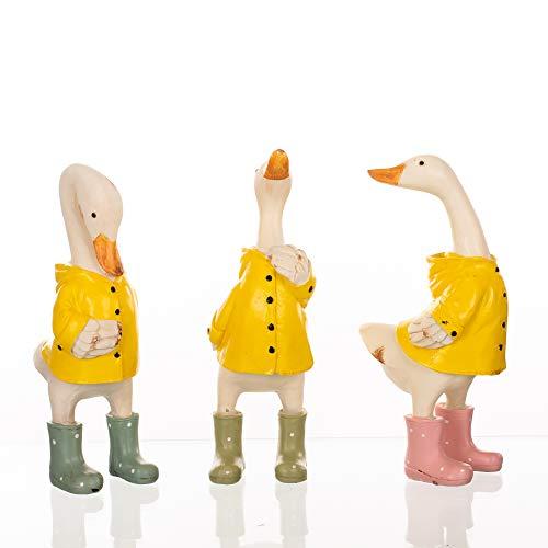 Transpac Duck with Raincoat Sunshine Yellow 10 x 5 Resin Stone Figurines Set of 3