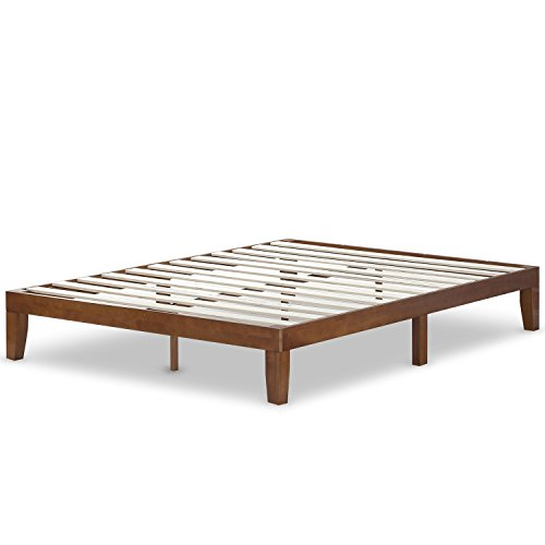 Zinus 12 Inch Wood Platform Bed / No Boxspring Needed / Wood Slat support / Cherry Finish, Queen by Zinus