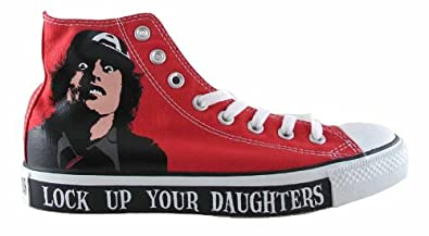 purchase cheap 0ee44 8131f CONVERSE HI ACDC LOCK UP YOUR DAUGHTERS RED WHITE - SIZE - 13