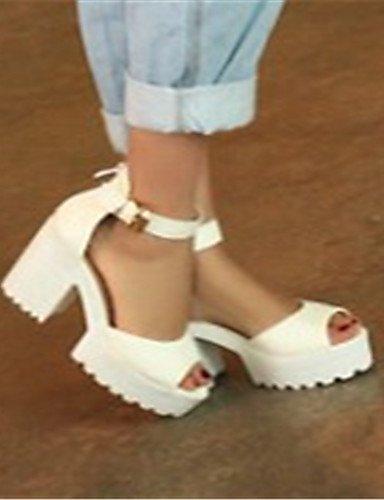 UWSZZ Die Sandalen elegante Comfort Schuhe Frau - Schuhe - Büro und Arbeit/formellen/Casual-Heels/Tick/Plateau/Dekolleté - Quadrat - Kunststoff-, 3-in-3 3/4-in-white