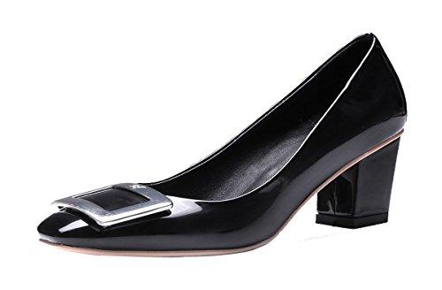 NIUERTE Women's Chunky Heel Square Toe and Buckle Elegant Pumps Black Patent 8 B(M) - Square Fashion Macys