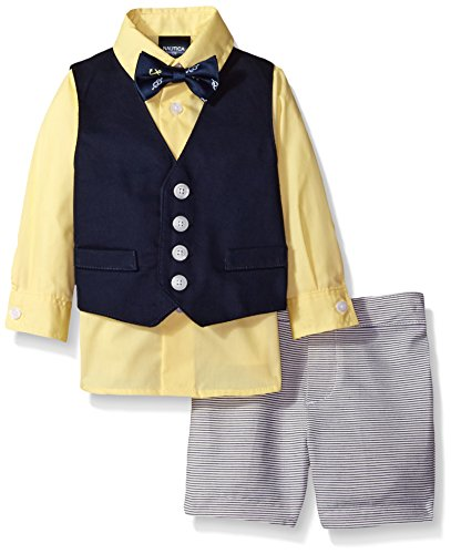 (Nautica Baby Boys' Twill/Horizontal Stripe Vest, Shirt and Short Set with Bow Tie, Navy, 24 Months)