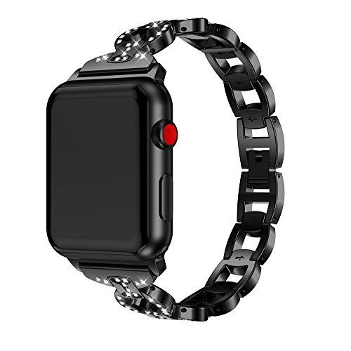 (Sunbona for Apple Smart Watch Series 1/2/3 Bracelet Strap 42mm, Luxury Alloy Diamonds Hollow Chain Replacement Bangle Wrist Band Men Women Accessory (Black))