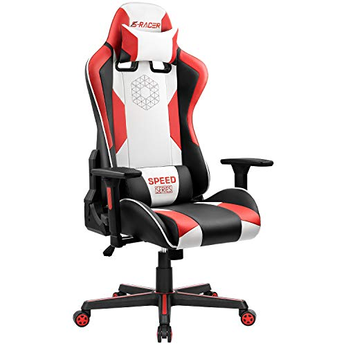 Homall Gaming Chair Racing Style Office Chair Ergonomic High-Back PU Leather Computer Gaming Chair with Headrest and Lumbar Support (Red/White) (Axis Chair)