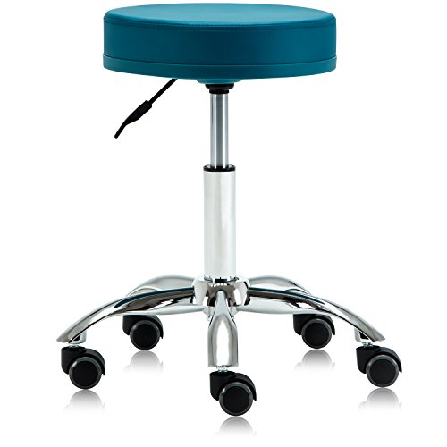 Dr.lomilomi Hydraulic Swivel Rolling Clinic Spa Massage Stool Chair 503 (503-No Footrest/With Wheel, Teal green)