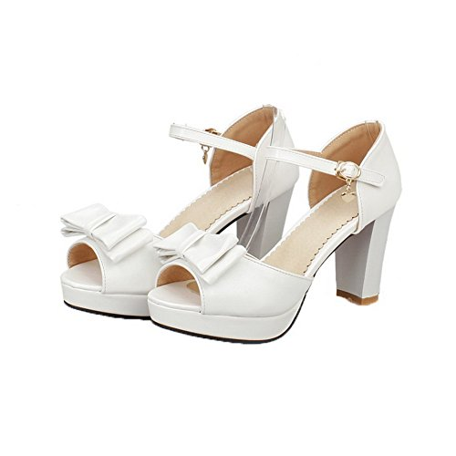 Women Peep White VogueZone009 High Toe Heels Sandals Buckle PU Solid CCALP013694 dvERrEq